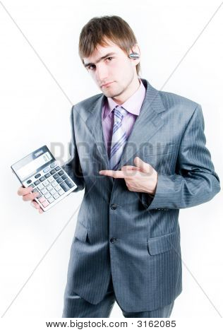 Disappointed Businessman With Calculator Showing Zero