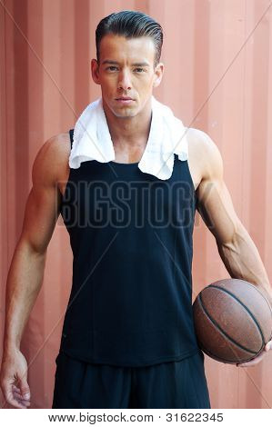 Portrait Of A Muscular Male Basketball Player