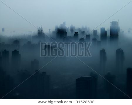 Shanghai Skyline in dichtem Nebel