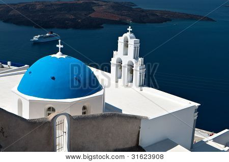 Traditional church at Santorini island in Greece