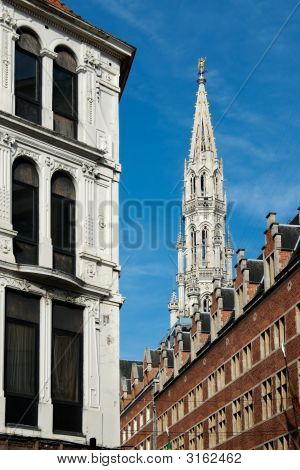 Town Hall  Gothic Tower In Brussels (Belgium)