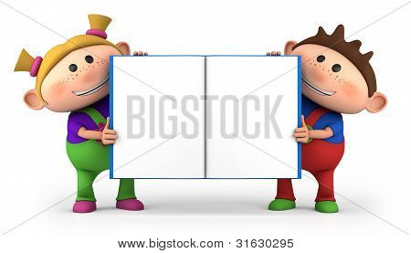 Kids With Blank Open Book