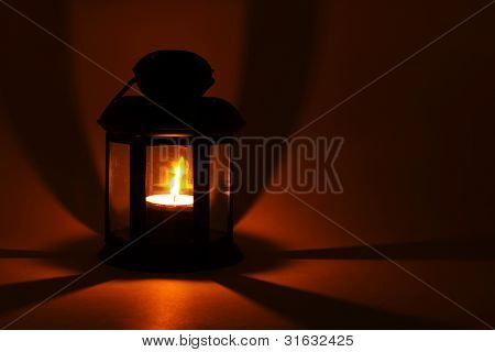 Lantern With Alight Candle