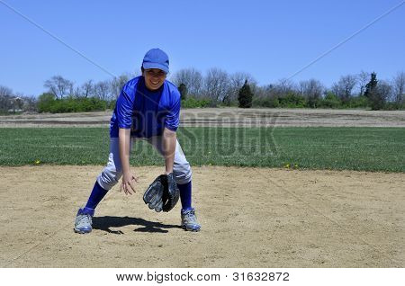 Young Infield Baseball Player