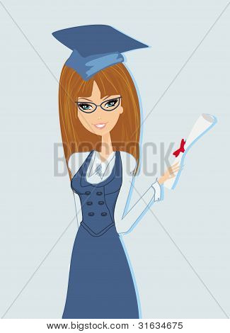 Illustration of a girl Holding Her Diploma