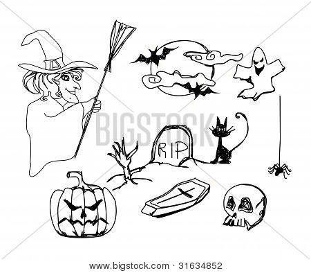 Set with halloween doodles