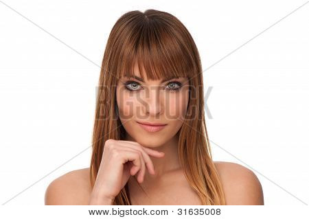 Beauty Portrait Of Attractive Young Girl Touching Her Shoulders