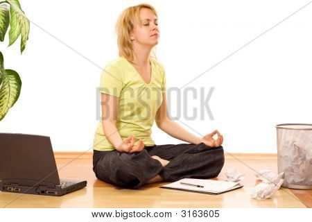 Woman Concentrating To Finish A Tough Task