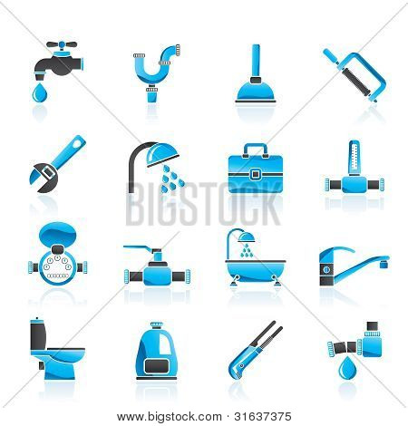 plumbing objects and tools icons