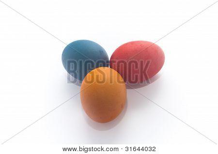Three Multi-colured Painted Eggs Easter
