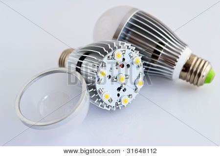 Two Led Light Bulbs With 1 Watts Smd Chips In The Foreground Without Cover Glass