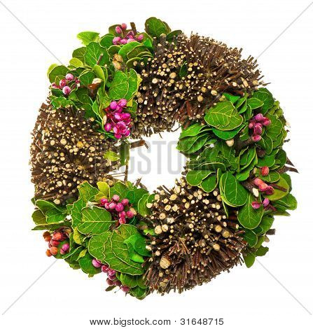 spring wreath with leaves and berrys