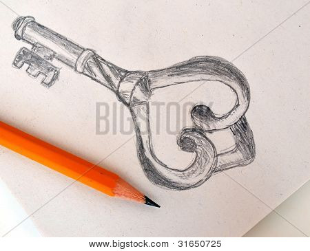 Pencil Drawing Of Old Vintage Key