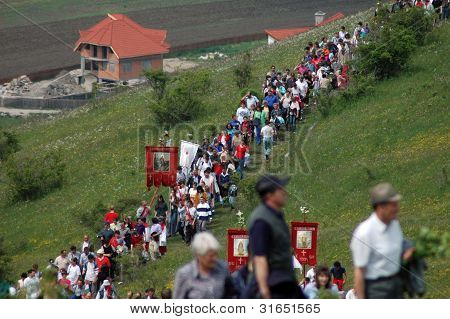 Hungarian pilgrims celebrating the Pentecost, Transylvania