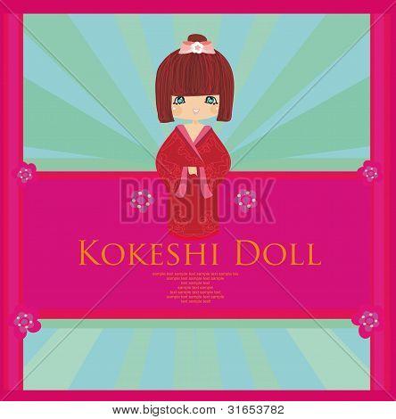 Vector Kokeshi Doll vintage card