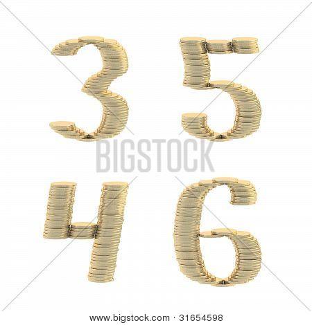 ABC alphabet symbols made of coins
