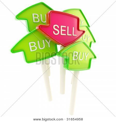 Sell plate in the middle of buy ones isolated