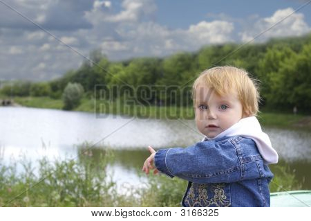 Girl And Lake