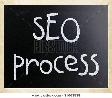 """seo Process"" Handwritten With White Chalk On A Blackboard"