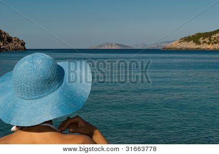 Portrait Of Woman On Mediterranean Beach