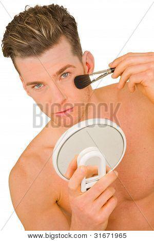 Young Man Getting Makeup