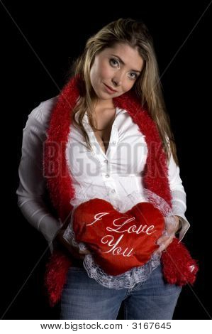 Attractive Woman With A Valentine Message
