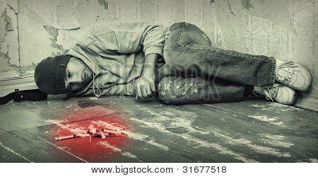 Bad Man - Addict  With A Syringe Using Drugs