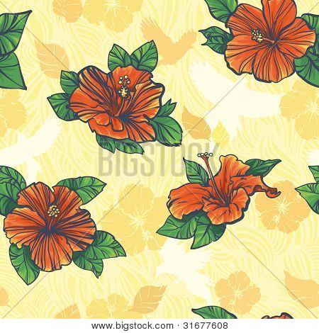 Yellow Floral Seamless Pattern With Flowers Hibiscus