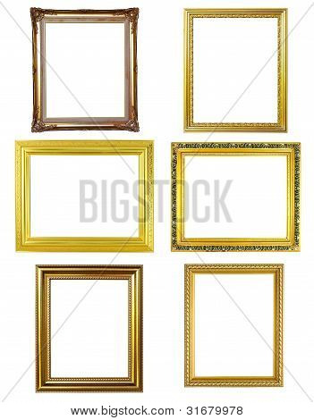 6 Golden Frame Picture On White Background