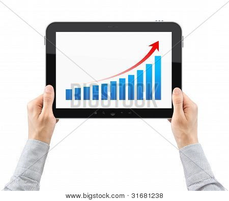 Hands Holding Tablet PC With Success Chart