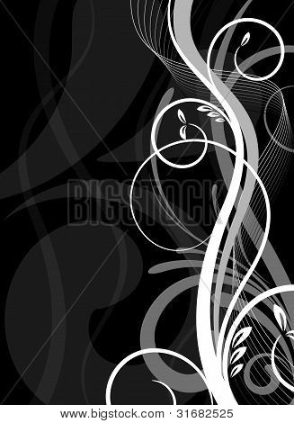 Black And White Floral Vector