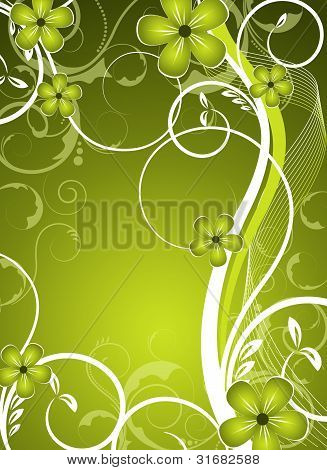 Green Vector Floral Design