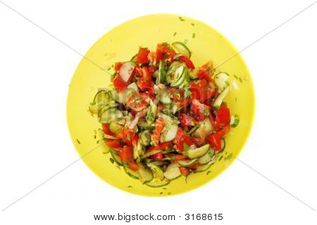 Simple Light Vegetable Salad Over White Background