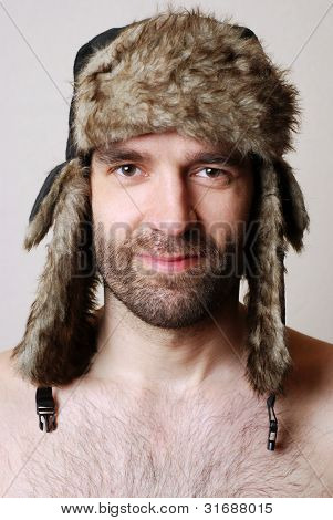 Man with russian hat