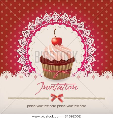 Vintage card with cupcake 013