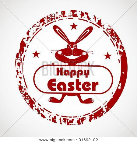 Red grunge rubber stamp with bunny silhouette and the text Happy Easter written inside the stamp . EPS 10