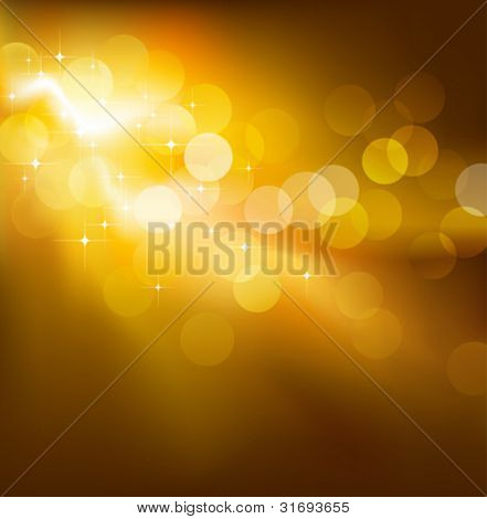 Golden festive lights. Vector illustration. (Rgb-model).