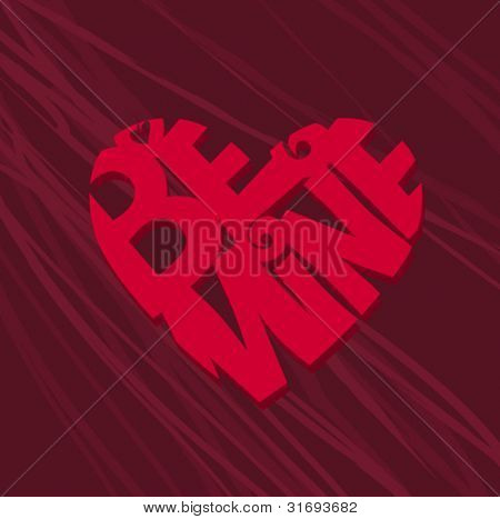 "Red heart with script ""be mine,"" Vector illustration."