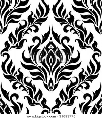 Damask seamless pattern black-white colored. Vector illustration.