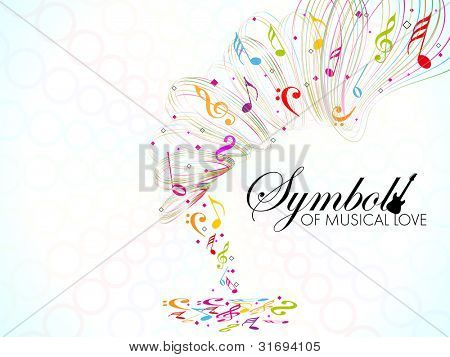 Vector illustration of colorful musical wave background with musical notes, can be used as flyer or banner for party or events. EPS 10 Vector Illustration.