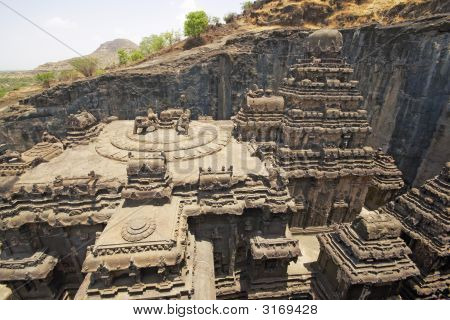 Hindu Temple Carved Out Of The Hillside, Ellora, India