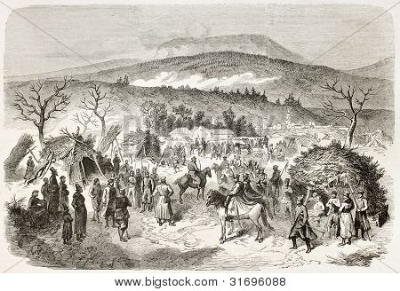 Polish January insurrection: Langiewicz camp (Polish leader) near Michalowicze. Created by Worms, published on L'Illustration, Journal Universel, Paris, 1863
