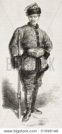 Jean Dlazewsky old engraved portrait (Polish january insurrection officer). Created by Worms, published on L'Illustration, Journal Universel, Paris, 1863