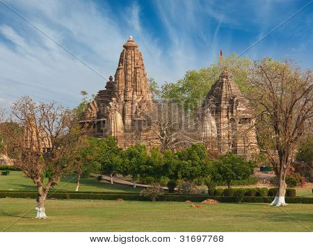 Lakshmana and Matangeshwar temples on sunset. Khajuraho, India