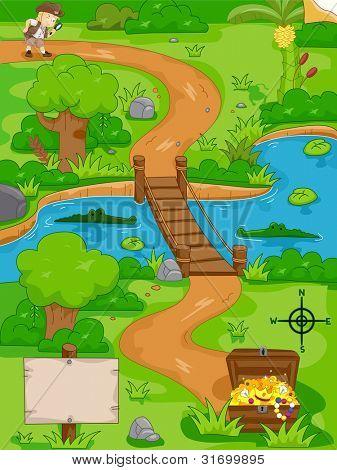 Illustration of a Treasure Hunt