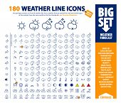 Big Vector Set Of Thin Line Weather Icons, Huge Pack Of Weather Forecast Design Elements, Complex Pr poster