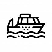 Public Transport Water Taxi Vector Thin Line Icon. Sea River Ship Taxi Ferrying, Urban Passenger Tra poster