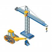 Excavator With Bucket, Lifting Crane Industrial Construction Isolated Icons Vector. Working Machiner poster