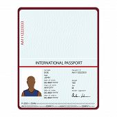 Passport With Biometric Data. Identification Document Vector. poster