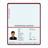 Passport With Biometric Data. Identification Document Vector. poster